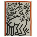"HARING, Keith. Lithograph. ""Fight AIDS Worldwide""."