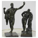 Lot Of 2 Antique Bronze Figural Sculptures .