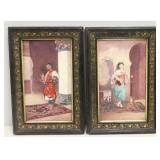 2 Framed Antique Orientalist Decorated Porcelain