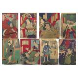 Eight Toyokuni Wooblock Prints.