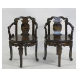 Pair of Japanned Lacquer Chairs.