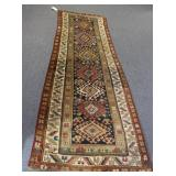 Antique and Finely Hand Woven Kazak Style Runner.