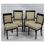 4 Napoleon 111 Style Black Painted Chairs.