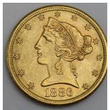 GOLD. 1886 S $5 Gold Liberty Head Coin.