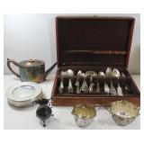 SILVER. Assorted Silver Hollow Ware & Flatware.