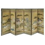 Japanese Six Panel Screen. Mountain Temple.