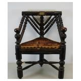 Antique Corner Chair with Gilt Metal Label