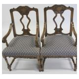 Pair Of Antique Continental Carved High Back