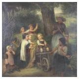 LASCH, Carl. Oil on Canvas. Children in a Wagon.