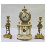 Fine Quality French Bronze And Marble Clock