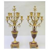 Pair Of French Rouge Marble And Bronze Urn