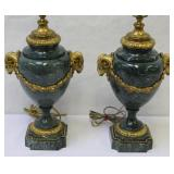 Pair Of Fine Quality Bronze Mounted Green Marble