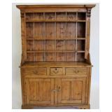 Antique Pine Open Front Hutch Cabinet