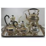 SILVER. 5 Pc. English Silver Tea Service.