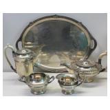 SILVER. 4 Pc. Walker & Hall English Silver Tea