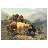 WATSON, William. Oil on Canvas. Highland Cattle.