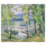MAYER, Peter Bela. Oil on Board. Lake Scene.