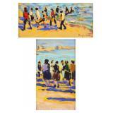 TELLES, Sergio. Pair of Oils on Paper. Beach