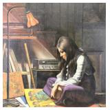 "HOFMANN, Douglas. Oil on Canvas. ""Fran with Albums"
