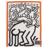 """HARING, Keith. Lithograph. """"Fight AIDS Worldwide""""."""