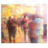 """WU, Jihchin. Oil on Canvas. """"Neon Crowd"""". 2000."""