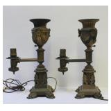 Pair of Signed Messenger & Sons Argand Lamps.