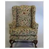 BAKER. Signed Upholstered Wingback Chair.