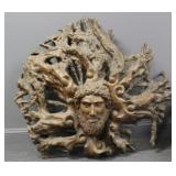 UNSIGNED. Large Carved Root Sculpture of a Head.