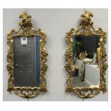Pair Of 19 Century Carved Giltwood Mirrors .