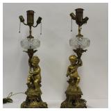 Pair Of Fine Quality And Large Gilt Bronze Putti