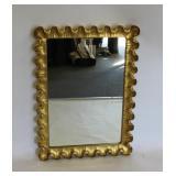 MIDCENTURY. Gilt Wood Mirror With Ruffeled Edge.