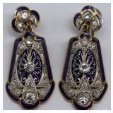 JEWELRY. Pair of Art Deco Diamond and Enamel