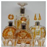 SILVER. .835 Silver Mounted Decanter Grouping.