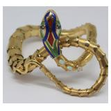 JEWELRY. Vintage 14kt Gold and Enamel Snake