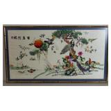 Framed Chinese Embroidery On Silk Of Exotic Birds.