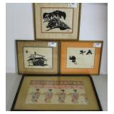 INIKUMO. 4 Framed and Signed Asian Prints.