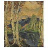 UNSIGNED Signed Oil On Board Lake In Landscape