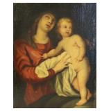 UNSIGNED. Oil On Canvas ,Madonna & Child.