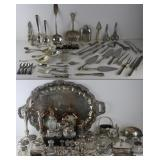 SILVER. Large Lot of Silver and Silverplate Items.
