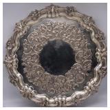 SILVER. Victorian Mid 19th C English Silver Salver