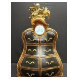 BRINDEAU. Signed Cabinet Clock With Gilt Bronze