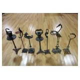 7 Cast Iron / Metal Standing Ashtrays .