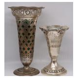 STERLING. (2) Tiffany & Co Sterling Trumpet Vases.