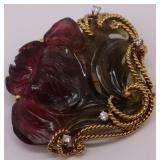 JEWELRY. Erwin Pearl 18kt Gold, Tourmaline and