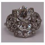 JEWELRY. Signed Petri Diamond and Platinum Ring.