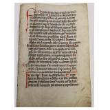 MISSAL.A Vellum Leaf From A Rare Missal.