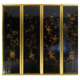 A Large Four Panel Chinoiserie Lacquered Screen.