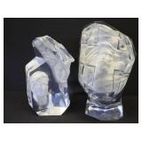 2 Signed Acrylic Sculptures.