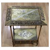 Antique Mixewd Metal 2 Tier Table