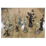 Lot Of 8 Antique Metal Figural Lamps.